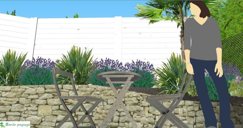 conception d 39 un am nagement paysager dans un petit jardin de ville en d nivel arcachon. Black Bedroom Furniture Sets. Home Design Ideas